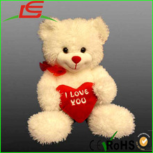 Giant yellow white Big plush teddy bear with heart
