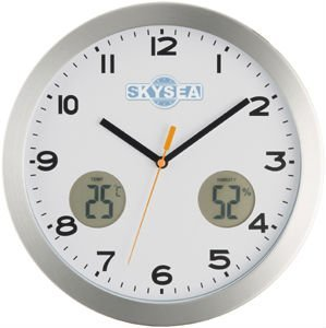 14 inches metal wall clock with weather station