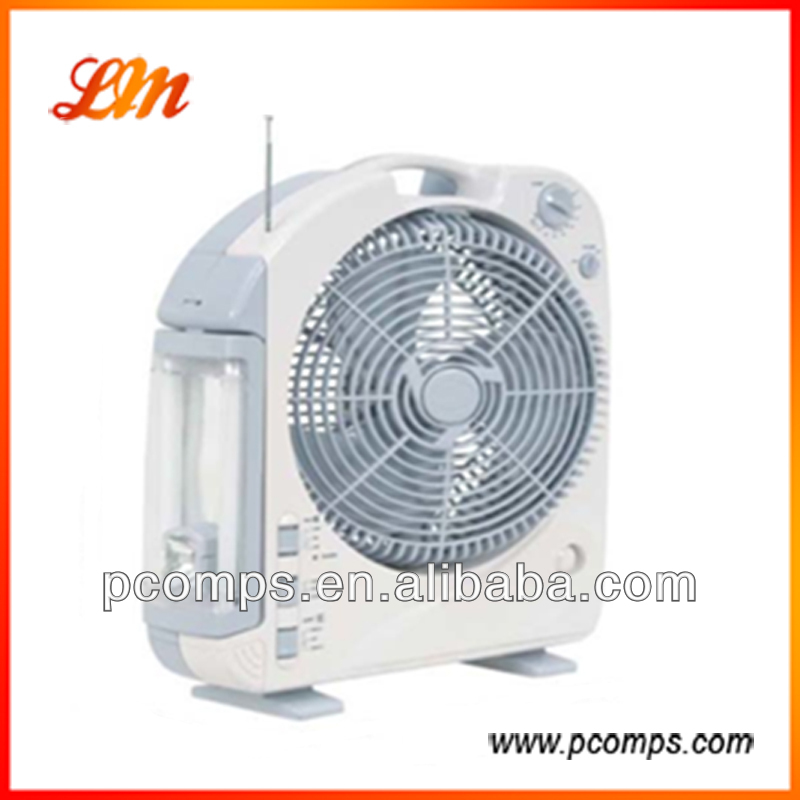 12'' Rechargeable Oscillating Table Fan With Radio&Tube Lights