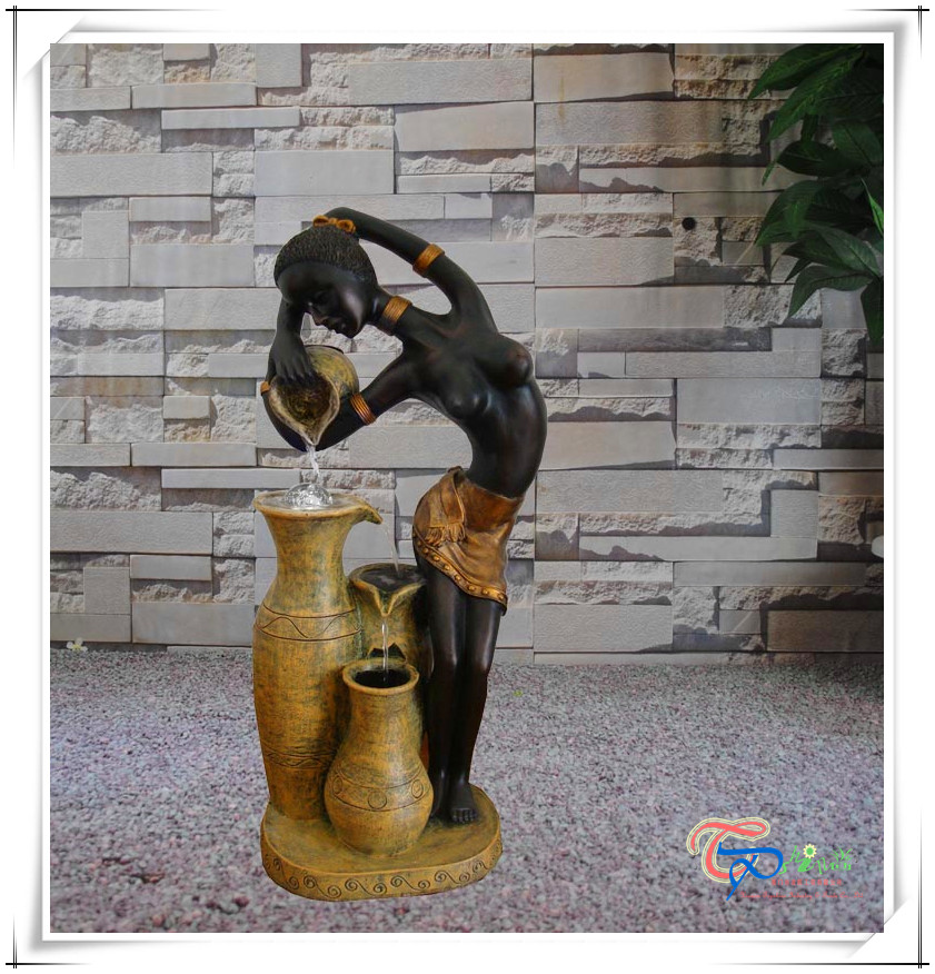 Polyresin naked lady statue sculpture waterfall fountain