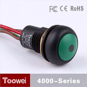 Toowei Dome Head Green 12mm mini waterproof led light illuminated pushbutton switch with wire