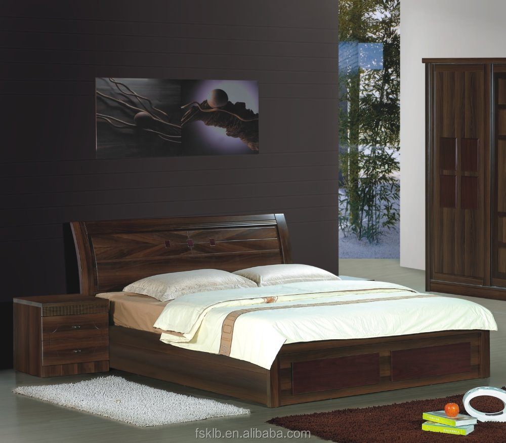 Factory Wholesale Price Walnut MDF Wood Bed Designs