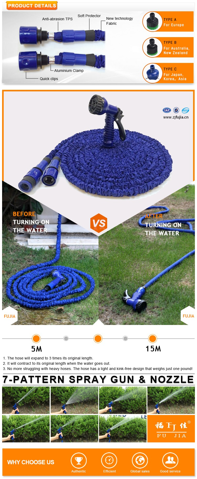 Hot Selling Water Hose Expandable Hose, Magic Hose,rubber water garden hose pipes/