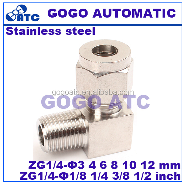 Quick coupler ZG1/4 male thread O.D 6mm hard tube stainless steel elbow connector <strong>fitting</strong>