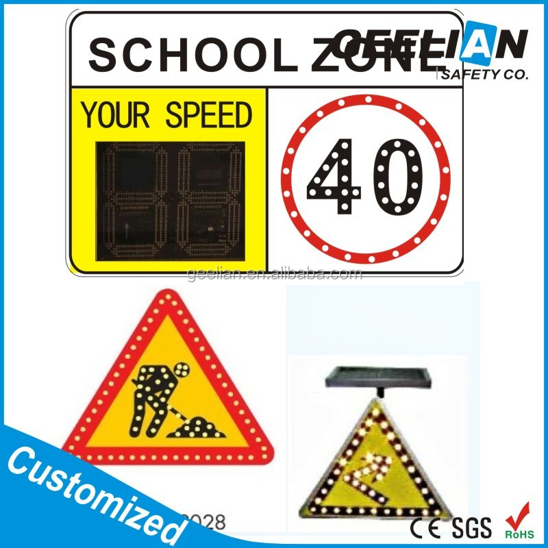 IP65 Solar powered Road Safety Sign with arrows