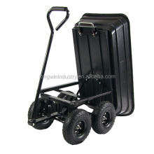 4 wheels plastic dump trailer / plastic garden cart