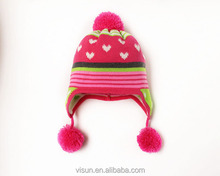 Cute Kid Baby Warm Crochet Hat Knit Two Balls Beanie Sweater Cap Earflap Hat