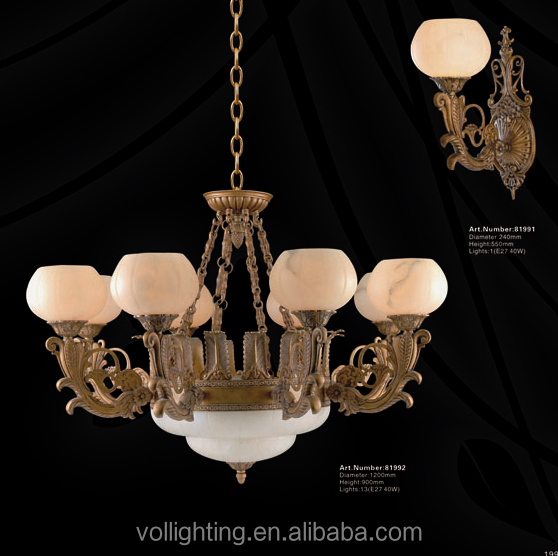 Traditional marble chandelier light copper brass arms pendant light for hotel