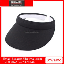 Wholesale Piping Clip On Visor golf visors with solid plain black