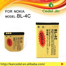 factory outlet cell phone battery BL-4C for nokia 6101/6102/6103/6125/6131/6136/6170/6260/6300 3.7v gold battery