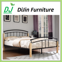 high quality and low price modern metal double bed with wood post
