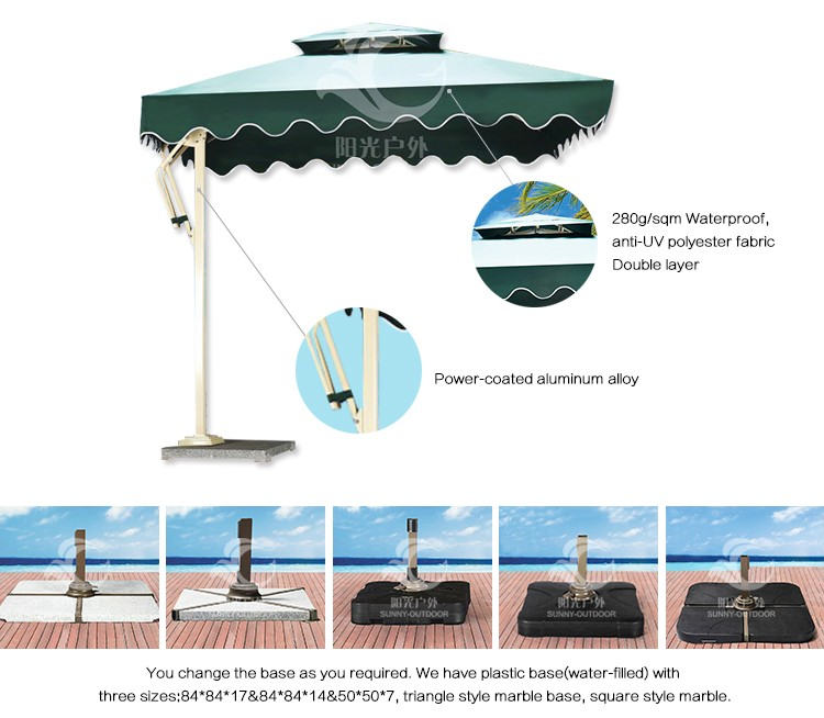 China Supplier Aluminum Alloy Frame Balinese Parasol With Marble Base