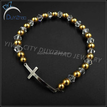 fashion accessories cross bracelet/stainless steel two tone beaded bracelet