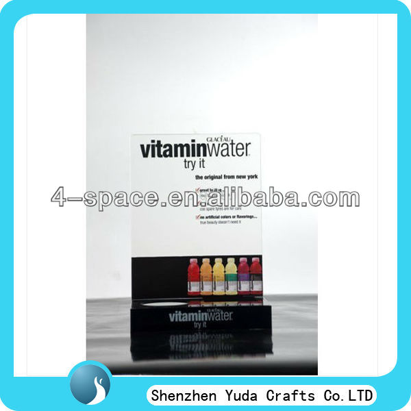 new design acrylic display fruit juice display stand with sign printing
