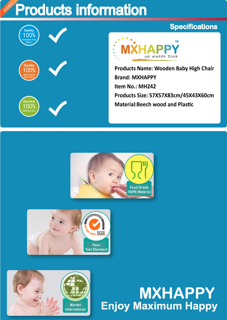 MH242 Baby High Chair Wooden High Chair with Removable Tray and Adjustable Legs for Baby Infants Toddlers