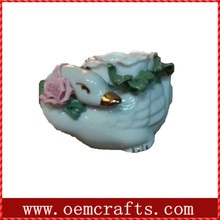 Adorable white duck shaped handmade ceramic candle holder