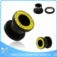 TP01072 black plated intimate body jewelry crystal flesh tunnel stainless steel piercing