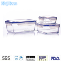 Outdoor hermetic transparent customized pyrex hot sale glass large airtight food storage container