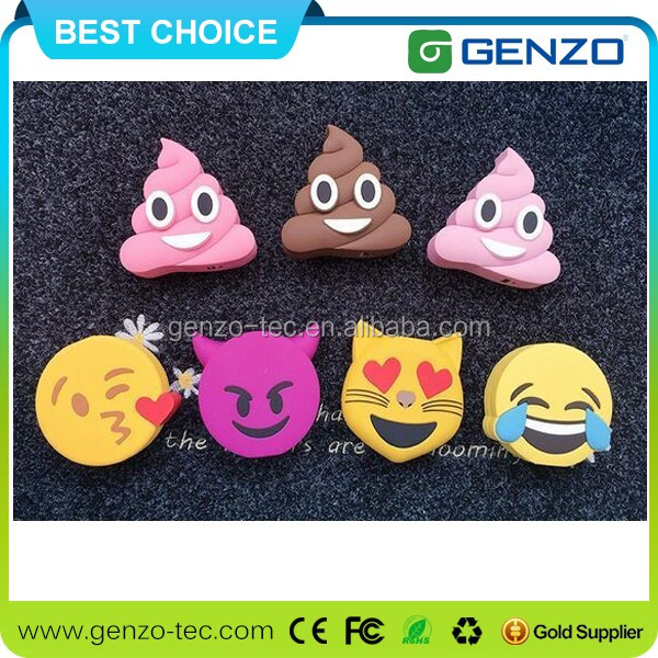 Newest design colorful specter/smile/hippo power bank 2600mah for cell phones smartphones