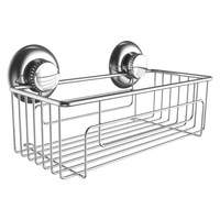 Shower Shelf Caddy Storage Basket Holder Vacuum Suction Cups - Sponge Shampoo Conditioner Holder- Stainless Steel