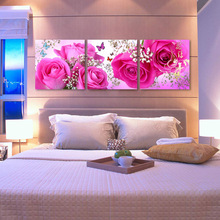 Home decor hotel wall art customized modern three panel handmade beautiful flowers scenery oil painting on canvas no frame
