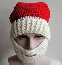 funny hand-crocheted Christmas hat with mustache warp knitting Christmas present hat