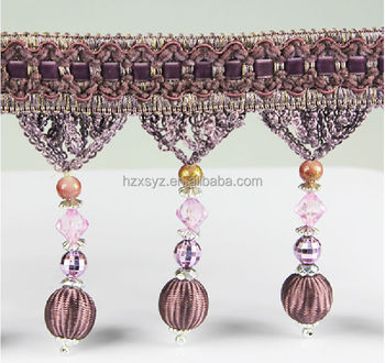 Long beaded tassel fringe used for Lampshade decorative beadeds fringe