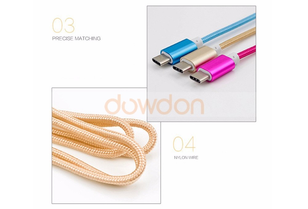 Nylon Braided Type C to 3.5mm Audio Cable Mobile Phone Type C Aux Cable