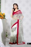 Triveni Divine Sequence Worked Net Saree With Velvet Blouse 62