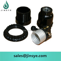 High quality screw type E27 bakelite bulb holder with shade ring