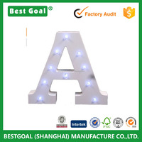 Decorative LED Light Up Wooden Alphabet Letter A with Battery Operated LED Lights