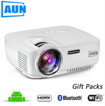 AUN latest projector mobile phone LED Projector Set in Android 4.4 WIFI Bluetooth Support Miracast Airplay KODI AC3 MINI Beamer