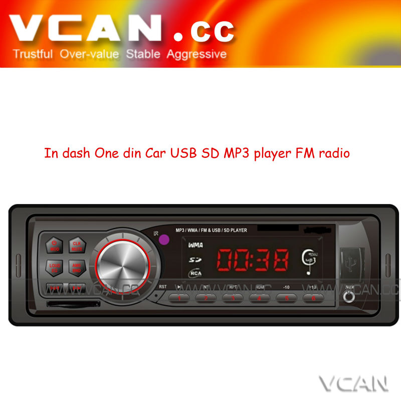 Hot sale !!car mp3 player with usb port in dash One din car stereo mp3 usb sd