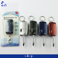 car key shaped foldable muti-function flashlight ball pen with keyring