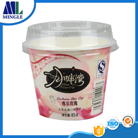 7oz 200ML Fancy Ice Cream Paper cups with Plastic lids and spoon
