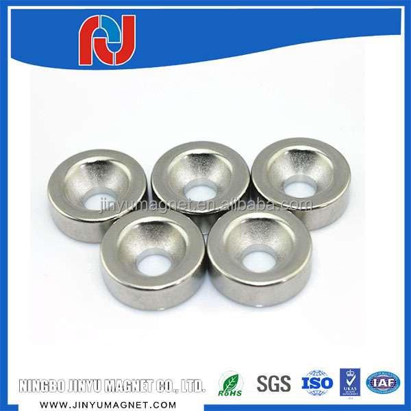 Countersink Hole Disc Ni Coated N35 Sintered Neodymium Magnets For Package