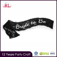 New Product 2016 Elegant Black Lace Hen Night Party Sash