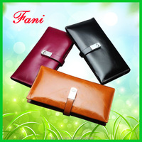 First layer oil wax genuine cow leather wallet with card holder design for women