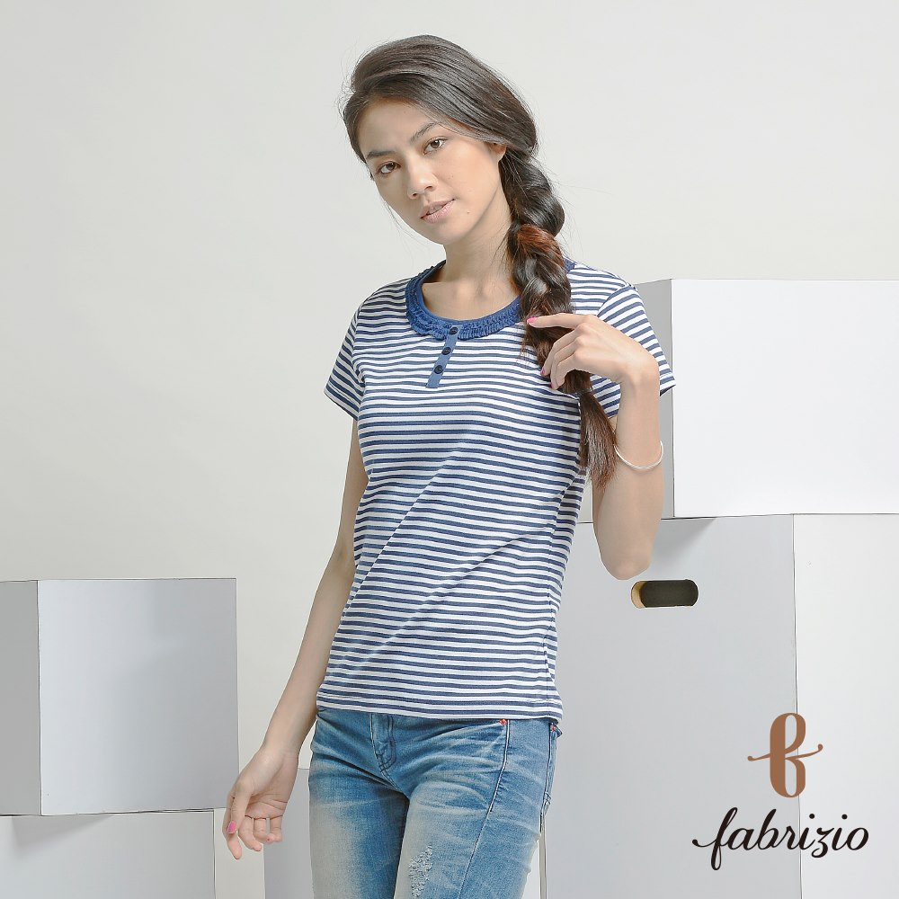 Professional Women Stripe Tops short Sleeve T-shirts Crew Neckline T-shirts Apparel for Women