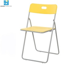 JOHOO Furniture Adult furniture modern stackable folding plastic outdoor chair with metal legs