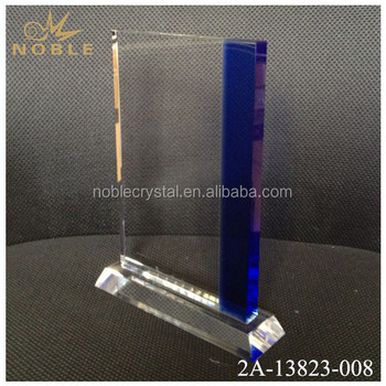 Clear Blue Rectangle Shape Crystal Trophy Awards