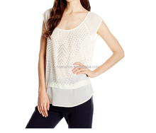 New design high quality fashion chiffon lady top designer