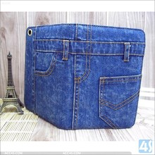 new arrival jeans leather cover for Apple ipad mini 3 trousers pants shaped case with stand pocket