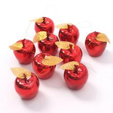 9Pcs/Lot Red Golden Apples Christmas Tree Decorations Party Events Fruit Pendant Christmas Hanging Ornament