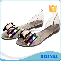 high quality women jelly shoes pvc sandals with rhinestones