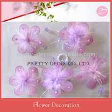 Purple silk flower garland