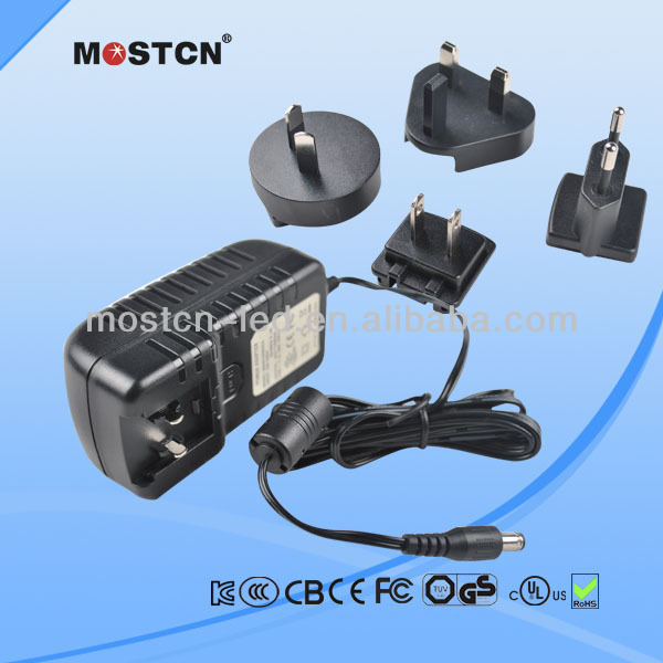 12V 1A 1000mA Universal/Interchangeable Travel Power Adapter with US EU AU UK Plug