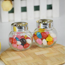 High quality clear empty glass flat drum jar with silver screw cap for storage wholesale