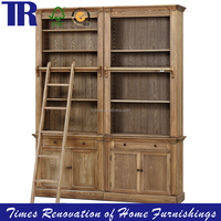 solid wood book cabinet,vintage storage combination cabinet with ladder,commercial furniture household furniture