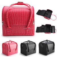 Black PU leather cosmetic makeup case with handle